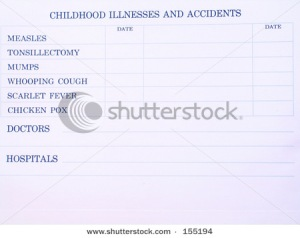Children's blank illness record sheet
