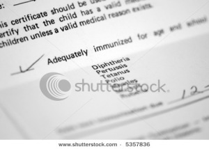 Child's immunization record for school admittance
