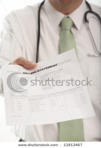 Doctor handling medical billing statement to patient