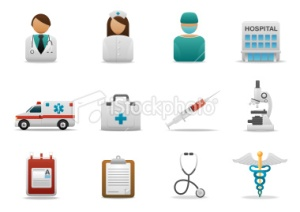 Hospital and medical centre icons
