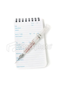 Medical notebook and syringe needle