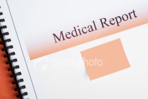 Medical report and matching sticky note