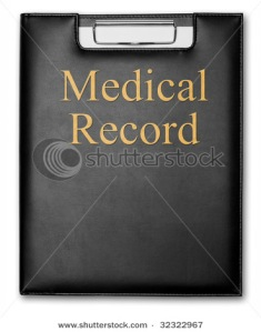 Professional clipboard with medical record print