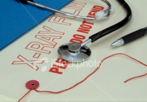 X-ray film and stethoscope